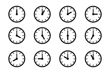 Set of clock icon, isolated icons