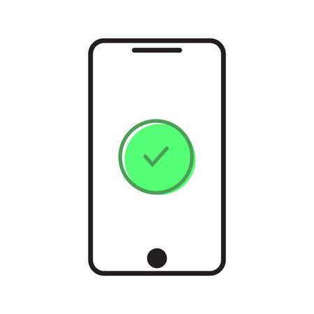Smartphone with green check illustration icon vector