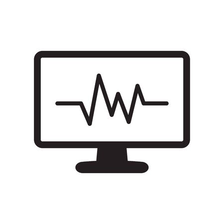 Cardiogram monitoring icon. Heart beats symbol on screen. Flat cardiogram web icon on white background. Vector illustration Illustration