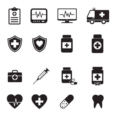Medical icons collection. Black and simple. Vector set.