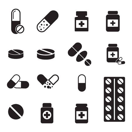 Pills bottle icon. Capsules and pills icon vector. Health Care Vector illustration Иллюстрация