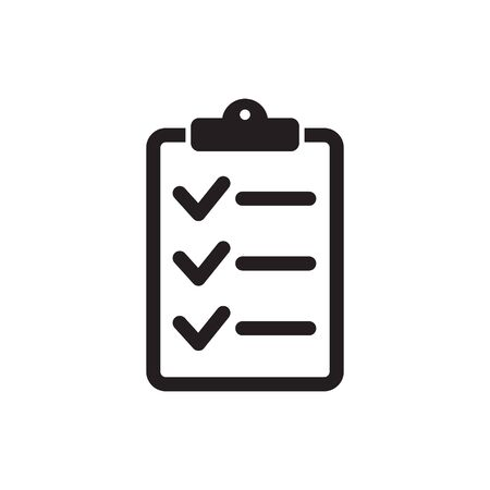 Checklist icon flat style isolated on background. Checklist sign symbol for web site and app design. Иллюстрация