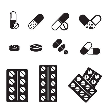 Medical pills icons set. Icons such as tablet, pill, medicine, medical pills. Иллюстрация