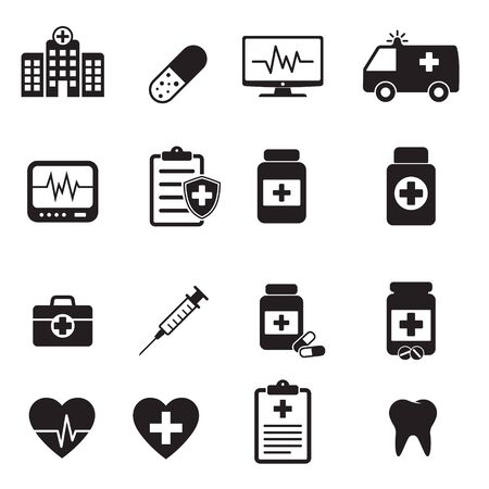 Medical vector icon set isolated on white background.
