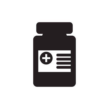 Medicine bottle and pills. Black and white icon. Vector illustration Иллюстрация