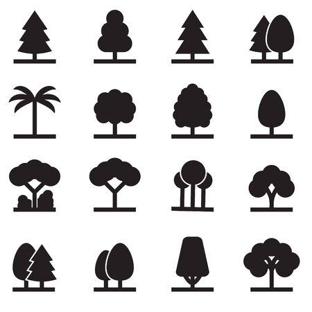 Tree icons set. Tree symbols, vector illustration isolated on white.