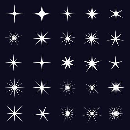 Vector conjunto de iconos de destellos. Elemento estrella