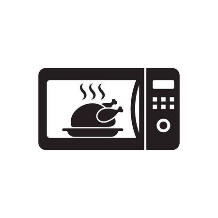 Microwave oven sign icon. Roast chicken. Kitchen electric stove symbol.