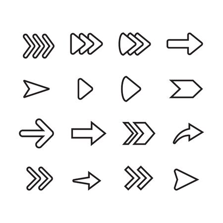 Set of arrow line icon design, black outline vector icons, isolated against the white background, forward mark vector illustration.