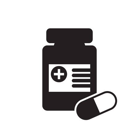 Medicine bottle and pills icon. Black and white icon. Vector illustration