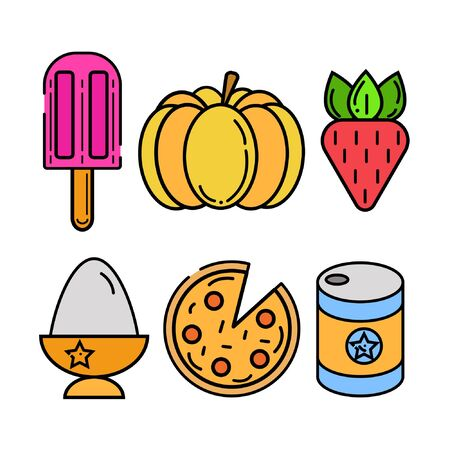 Food, vegetables, icon set in flat style. Vector illustration.