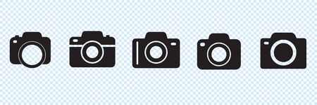 Set of photo camera icons or snapshot sign isolated. Digital photography logo collection for web, design or other Иллюстрация