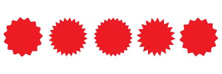 Set of vector red starburst, sunburst badges. Red icons on white background. Simple flat style vintage labels, stickers. Иллюстрация