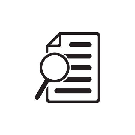 File search icon, document search, vector isolated. Document with magnifier loupe business concept.