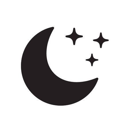 Moon and stars vector icon on background, night icon.