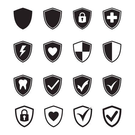Vector shield protection icon set black on white Иллюстрация