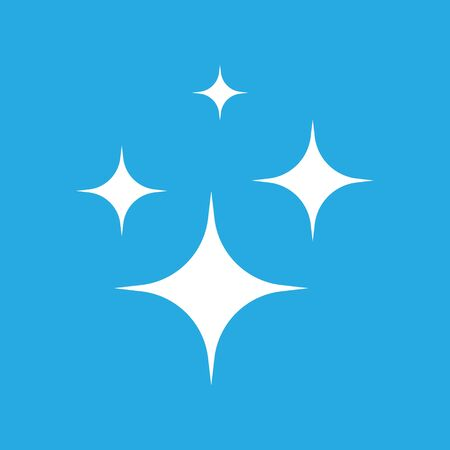 Shine icon, Clean star icon. White icon on blue background. 矢量图像