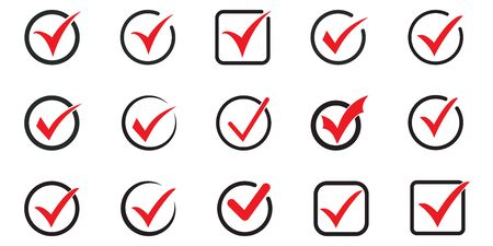 Red tick icon vector symbol, checkmark isolated on white background