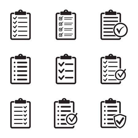 Set of checklist icons, vector isolated illustration Иллюстрация