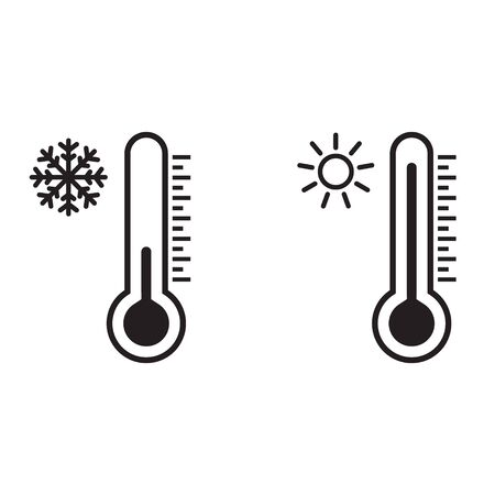 Thermometer vector icon set. Hot and cold weather