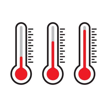 Ikona termometru, czerwony termometr, ilustracja na białym tle wektor Ilustracje wektorowe