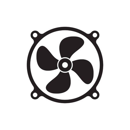 Cooling fan icons. Cool fans vector symbols, electrical air industry signs, electric wind climate industrial propellers with blades Foto de archivo - 135454707