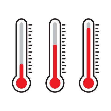 Thermometersymbol, rotes Thermometer, isolierte Vektorillustration