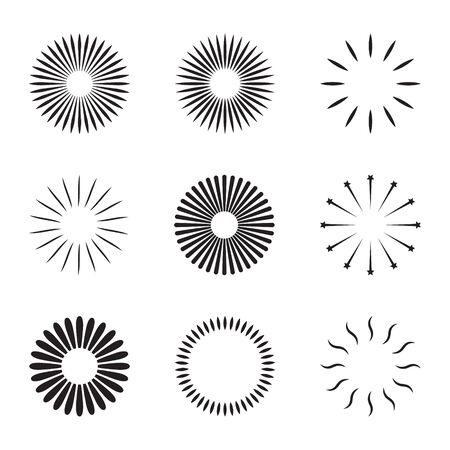 Starburst and sunburst radial effect set with different style for decorative design isolated on white background. vector illustration