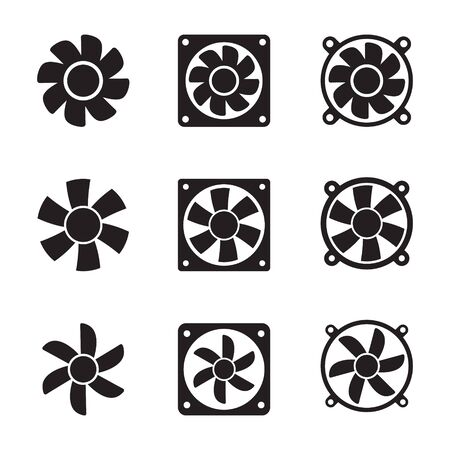 Cooling fan icons. Cool fans vector symbols, electrical air industry signs, electric wind climate industrial propellers with blades Foto de archivo - 135454774