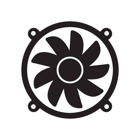 Cooling fan icons. Cool fans vector symbols, electrical air industry signs, electric wind climate industrial propellers with blades Foto de archivo - 135454770