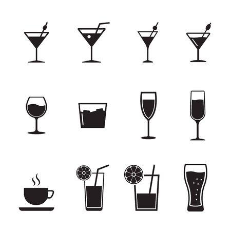Vektorschwarze Getränke- und Getränkeikonen eingestellt.