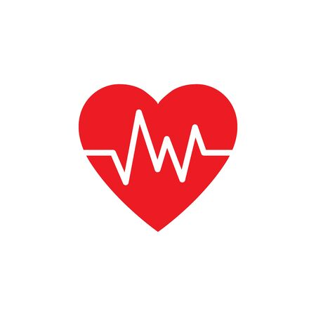 Heartbeat, heart beat pulse, cardiogram flat vector icon for medical apps and websites