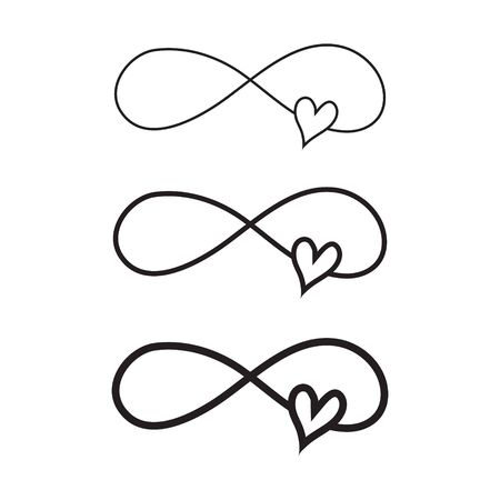 Hand drawn infinity symbol with heart, love sign doodle icon. Love sign forever for Happy Valentines Day.