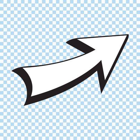 Comic book style quirky cartoon arrow