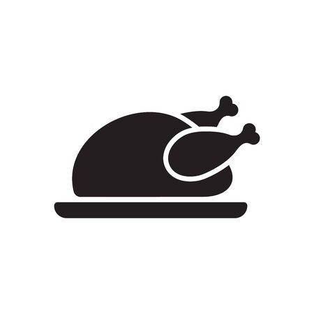 Chicken icon. Chicken dish vector. Chicken on plate vector. Ilustracja