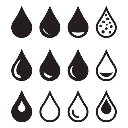 Icône de l'eau, icône de la goutte. Symbole d'icône d'eau de vecteur de conception Vecteurs