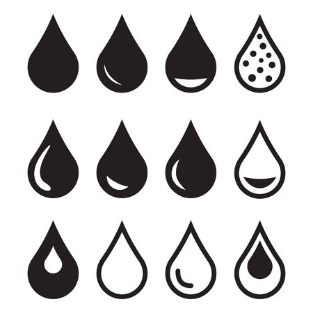 Waterpictogram, druppelpictogram. Ontwerp vector water pictogram symbool Vector Illustratie