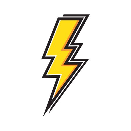 Yellow Electric Lightning Bolt with shading effects on white background vector icon Ilustração