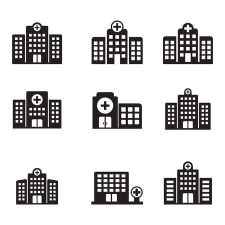Hospital icon, Hospital building vector icon isolated