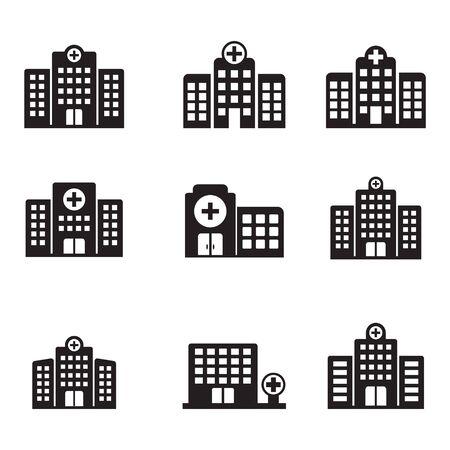 Icono de hospital, icono de vector de edificio de hospital aislado