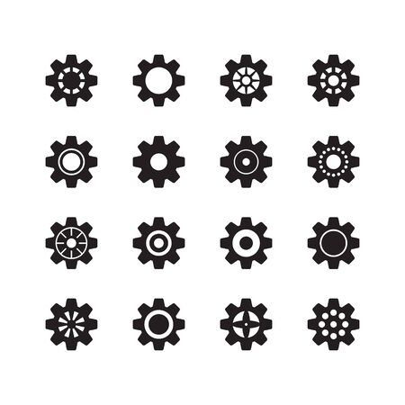 Vector gear icons set. Cog wheels. Vector illustration isolated on white background. Vecteurs