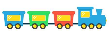 Spielzeugeisenbahn-Cartoon-Vektor-Illustration. Flache Illustration der Spielzeugeisenbahn-Vektorikone.