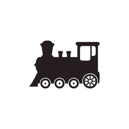 Train icon, old locomotive silhouette, symbol sign vector illustration