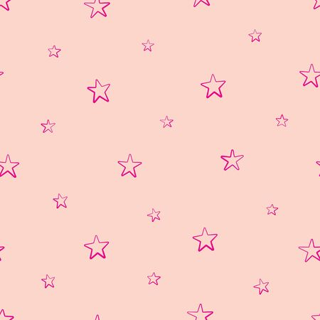 Vector seamless pattern with pink stars on pink background 일러스트