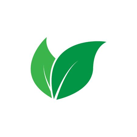 Green leaves icon. Vector illustration isolated on white background.
