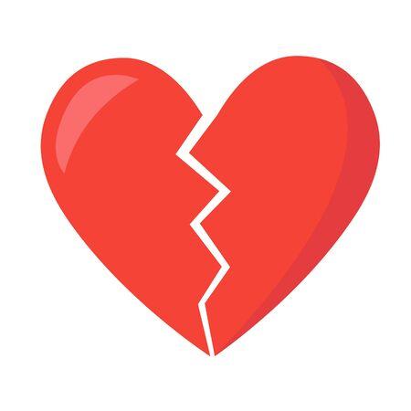 Broken Heart vector icon. red broken heart isolated illustration 일러스트