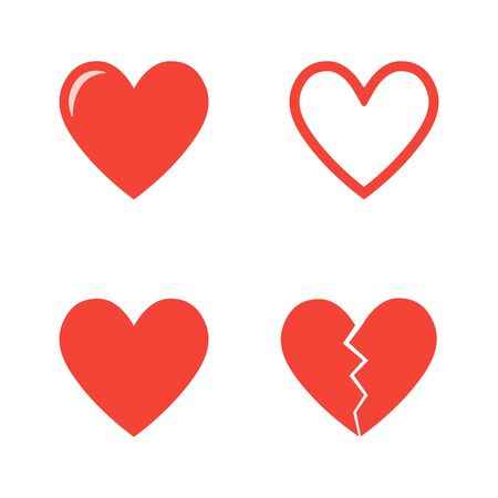 Set of red hearts, love icons vector set
