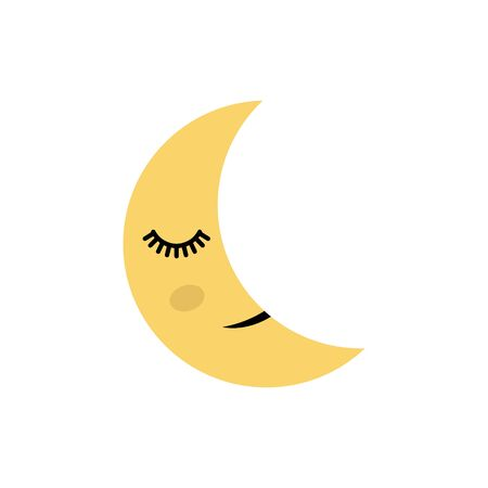 Cute moon, cartoon vector Illustration.