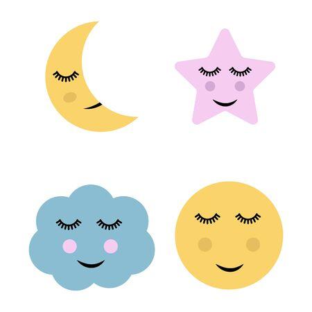 Cute cartoon moon, star and cloud Illustration. 일러스트