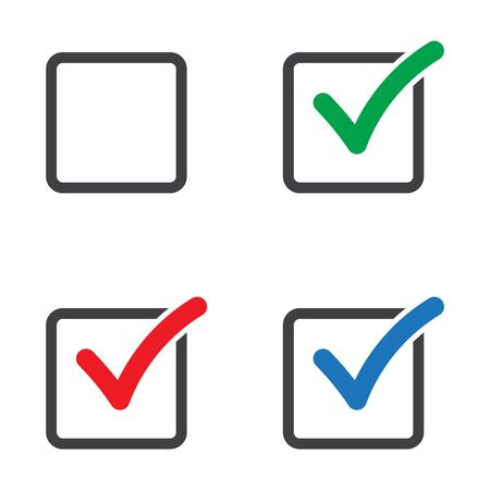 Checkbox set with blank and checked checkbox vector icon. Verify icon.
